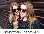 fashion portrait of two  pretty ...   Shutterstock . vector #652260871
