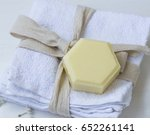organic thyme honey soap on... | Shutterstock . vector #652261141