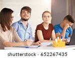 young man working or studying... | Shutterstock . vector #652267435