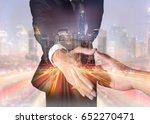 double exposure of businessman... | Shutterstock . vector #652270471