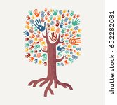 hand tree drawing with colorful ... | Shutterstock .eps vector #652282081