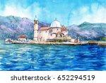watercolor drawn landscape of... | Shutterstock . vector #652294519