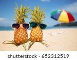 couple of attractive pineapples ... | Shutterstock . vector #652312519