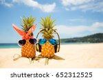 couple of attractive pineapples ... | Shutterstock . vector #652312525