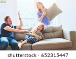 pillow fight at home  family... | Shutterstock . vector #652315447