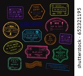 vector set of colorful passport ... | Shutterstock .eps vector #652321195