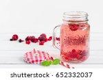 raspberry healthy lemonade in... | Shutterstock . vector #652332037