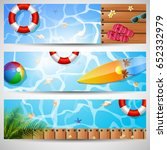 set of three summer beach  | Shutterstock .eps vector #652332979