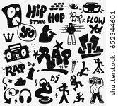 rap doodles   Shutterstock .eps vector #652344601