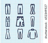 set of 9 jeans outline icons... | Shutterstock .eps vector #652349527