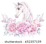 watercolor hand drawn floral... | Shutterstock . vector #652357159