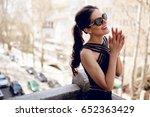 a beautiful elegant brunette in ... | Shutterstock . vector #652363429