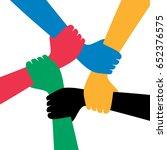 five men shaking hands ... | Shutterstock .eps vector #652376575