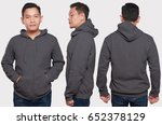 dark gray hoodie mock up | Shutterstock . vector #652378129