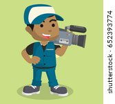 african boy reporter cameraman | Shutterstock . vector #652393774