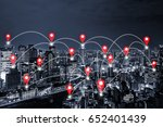map pin flat above connected... | Shutterstock . vector #652401439