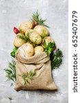 Raw Potatoes In A Linen Bag ...