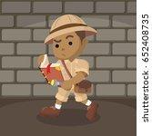 african boy explorer reading...   Shutterstock .eps vector #652408735