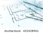 rolled blueprints  ruler and... | Shutterstock . vector #652428961