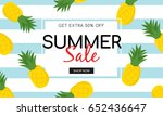 summer sale on pineapple... | Shutterstock .eps vector #652436647