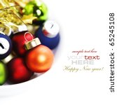 Colorful collection of Christmas Balls with sample text - stock photo