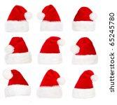 santa hat  isolated over white...   Shutterstock . vector #65245780