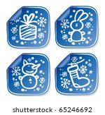 New Years stickers set. - stock vector