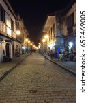 Small photo of Calle Crisologo or Mena Crisologo street at night, Vigan, Philippines (24 July 2015)