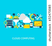 cloud computing flat concept.... | Shutterstock .eps vector #652470085