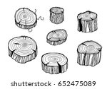 design set with wood logs.... | Shutterstock .eps vector #652475089