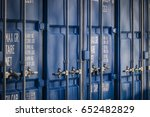 a row of shipping containers ... | Shutterstock . vector #652482829