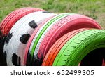 painted beautiful colors tires... | Shutterstock . vector #652499305