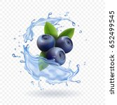 blueberry and water splash... | Shutterstock .eps vector #652499545