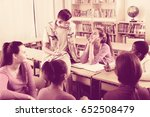 group of smiling school pupils... | Shutterstock . vector #652508479