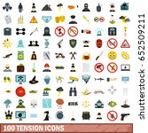 100 tension icons set in flat... | Shutterstock .eps vector #652509211