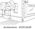 street road graphic black white ... | Shutterstock .eps vector #652513639