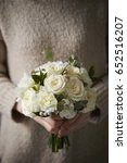 woman holding flower bouquet  | Shutterstock . vector #652516207