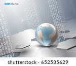 globe with binary code and... | Shutterstock .eps vector #652535629