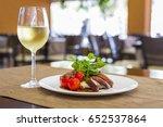 bacon wrapped pork medallions... | Shutterstock . vector #652537864
