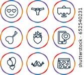 romantic icons set. set of 9... | Shutterstock .eps vector #652540231