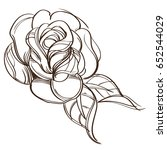 hand drawn rose. floral design... | Shutterstock .eps vector #652544029
