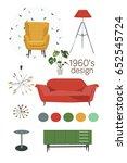 mid century modern furniture... | Shutterstock .eps vector #652545724