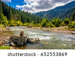 River with rocky shore flows among  green forest at the foot of the mountain. Picturesque nature of rural area in Carpathians. Serene springtime day under blue sky with some clouds - stock photo