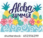 aloha summer poster with tropic ... | Shutterstock .eps vector #652556299