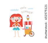 hello summer greeting card in... | Shutterstock .eps vector #652575121
