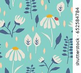 seamless pattern with flowers ... | Shutterstock .eps vector #652584784