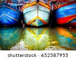 multicolored old boat in the... | Shutterstock . vector #652587955