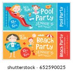 beach and pool party. birthday... | Shutterstock .eps vector #652590025