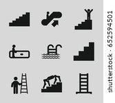 stair icons set. set of 9 stair ... | Shutterstock .eps vector #652594501