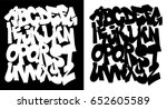 black and white graffiti... | Shutterstock .eps vector #652605589